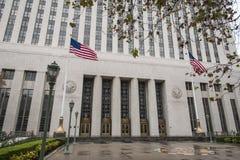 Здание суда Соединенных Штатов в Лос-Анджелесе на дождливый день Стоковое Фото
