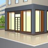 Здание с внешними витринами магазина и входом бесплатная иллюстрация