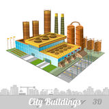 Здание фабрики или завода с танком дворов дымовых труб иллюстрация вектора