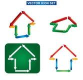 Здание цвета и комплект значка дома Стоковое Изображение RF