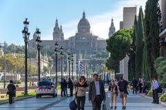 здание barcelona искусства расквартировывает montjuic дворец соотечественника музея Стоковое Фото