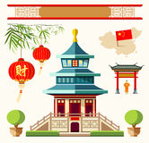 Здания вектора собраний стиля Китая Стоковая Фотография