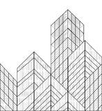 Здания вектора Wireframe Иллюстрация вектора