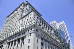 Здания в районе Монреаля международном Стоковое Изображение RF