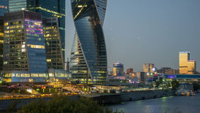 Здания города Москвы и река Москвы Стоковое Изображение