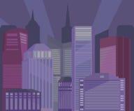 Здания города на иллюстрации ночи Стоковое фото RF