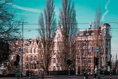 Здания и деревья в Амстердаме, Нидерландах стоковые изображения