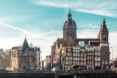 Здания и улицы в Амстердаме, Нидерландах стоковые фото