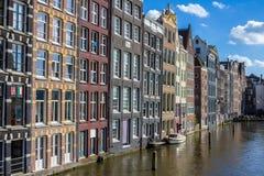 Здания на канале Амстердама Стоковые Изображения RF