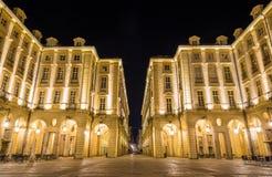 Здания на квадрате Palazzo di Citta - Турина Стоковая Фотография