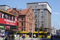Здания на St в Катовице, Польше Mickiewicza Стоковые Фото