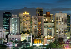 Здания небоскреба Бангкока под twilight небом Стоковые Изображения