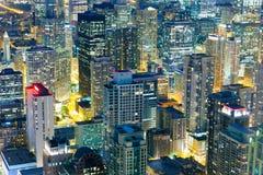 Здания небоскреба, взгляд ночи Стоковые Фото