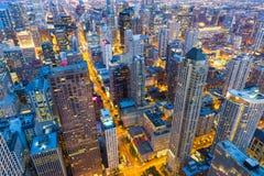 Здания небоскреба, взгляд ночи Стоковая Фотография RF