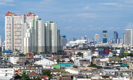 Здания небоскреба в Бангкоке под twilight небом Стоковая Фотография