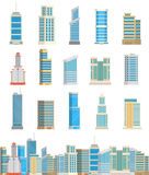 Здания небоскребов изолировали иллюстрацию вектора квартиры дела дома архитектуры города офиса башни Стоковые Изображения