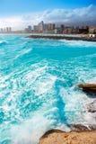 Здания пляжа Benidorm Аликанте и среднеземноморское Стоковые Фотографии RF