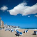 Здания пляжа Benidorm Аликанте и среднеземноморское Стоковое фото RF