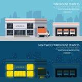 2 здания склада знамен с пересылкой товаров все время вариант для приземляясь вебсайта иллюстрация штока