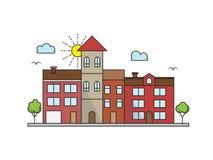 Здания стиля ландшафта города вектора линейные иллюстрация вектора