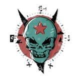Злий череп с звездой на его лбе Готический вахта, круговая шкала дизайна часов Искусство иллюстрации вектора в стиле татуировки бесплатная иллюстрация