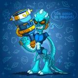 Злобный оккупант космоса чужеземца с оружиями Стоковые Фото