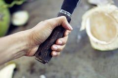 Злободневные кокосы, с прерывать руки стоковые фото