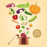 Здоровая вегетарианская варя иллюстрация вектора концепции иллюстрация вектора