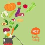 Здоровая вегетарианская варя иллюстрация вектора концепции иллюстрация штока
