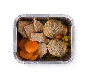 Здоровая еда в коробках, концепция диеты Сухари, котлеты, мозоль, морковь, зеленый горох Стоковое Изображение