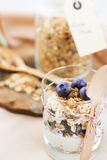 Здоровая еда: Домодельный свежий югурт с голубиками и muesli Стоковые Изображения RF