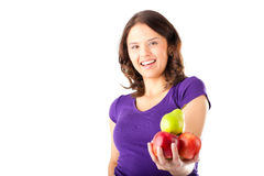 Здоровая еда - женщина с яблоками и грушей Стоковые Изображения