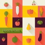 Здоровая еда и концепция фермы свежая Плоский стиль с длинными тенями Современный ультрамодный дизайн Стоковое Изображение RF