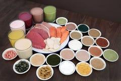 Здоровая еда и пить для построителей тела Стоковые Изображения RF