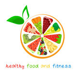 Здоровая еда и фитнес Бесплатная Иллюстрация