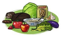 Здоровая еда, низко-карбюратор, состав вектора Стоковые Фото