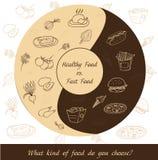 Здоровая еда против фаст-фуда иллюстрация штока