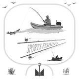Здоровая жизнь в природе и рыбной ловле иллюстрация вектора