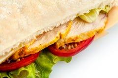 здоровая заедк Хлеб пита при цыпленок, сыр и салат изолированные на белизне Стоковые Изображения RF