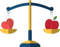Здоровая концепция образа жизни с красными яблоком и сердцем Иллюстрация вектора