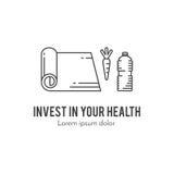 Здоровая концепция lineart образа жизни фитнеса Стоковые Изображения