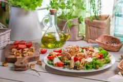 Здоровая домодельная еда с овощами Стоковая Фотография RF
