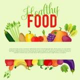 Здоровая предпосылка еды с местом для вашего текста также вектор иллюстрации притяжки corel Стоковая Фотография