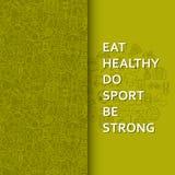 Здоровая предпосылка образа жизни в зеленом цвете иллюстрация штока
