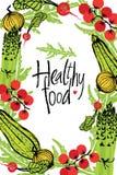 Здоровая рамка дизайна еды с овощами Стоковое Изображение