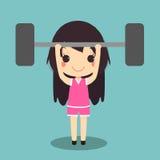 Здоровая штанга поднятия тяжестей тренировки женщины Стоковые Фотографии RF