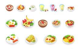 Здоровое собрание значков еды завтрака Muesli, хлопья, плодоовощи и ягоды, гайки, яичка, омлет, авокадо, smoothie Стоковые Изображения RF