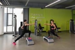 Здоровые женщины делая тренировку с гантелями Стоковые Фото