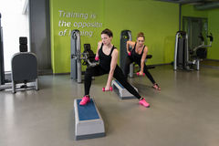 Здоровые женщины делая тренировку с гантелями Стоковые Фотографии RF