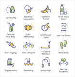 Здоровые значки образа жизни - серия плана Стоковая Фотография